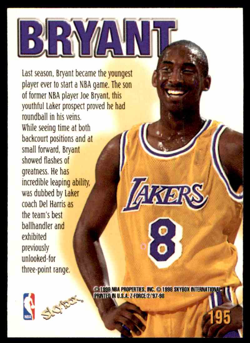 1998-99 Skybox Z-Force Kobe Bryant #195 card front image