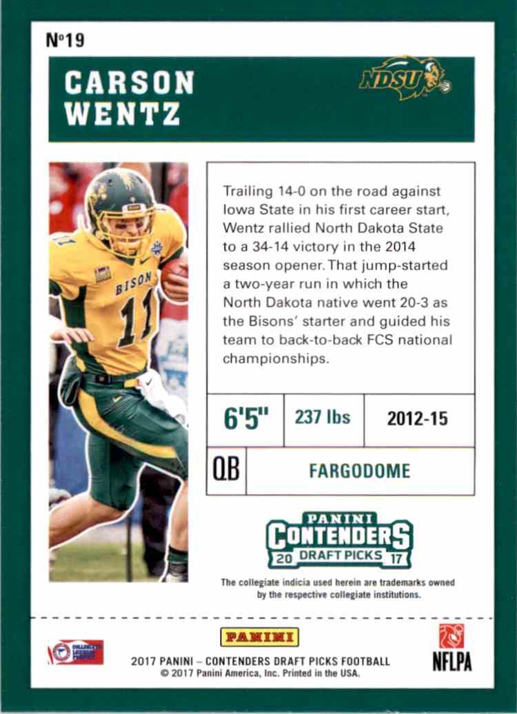 2017 Panini Contenders Draft Picks Carson Wentz #19 card back image