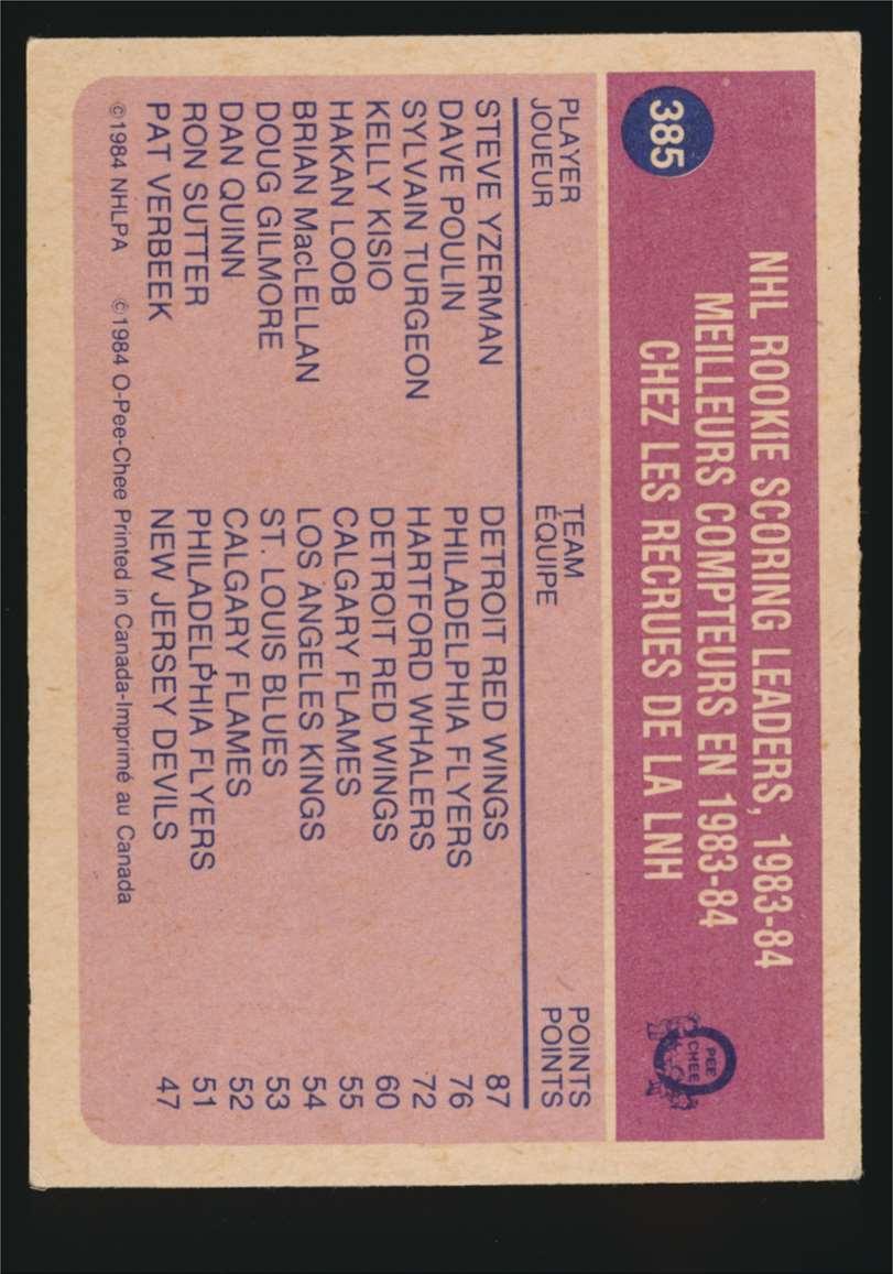1984-85 OPC Rookie Sl Steve Yzerman #385 card back image