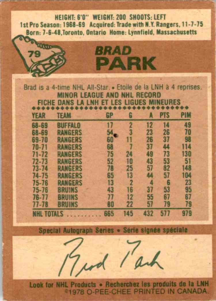 1978-79 O-Pee-Chee Brad Park #79 card back image