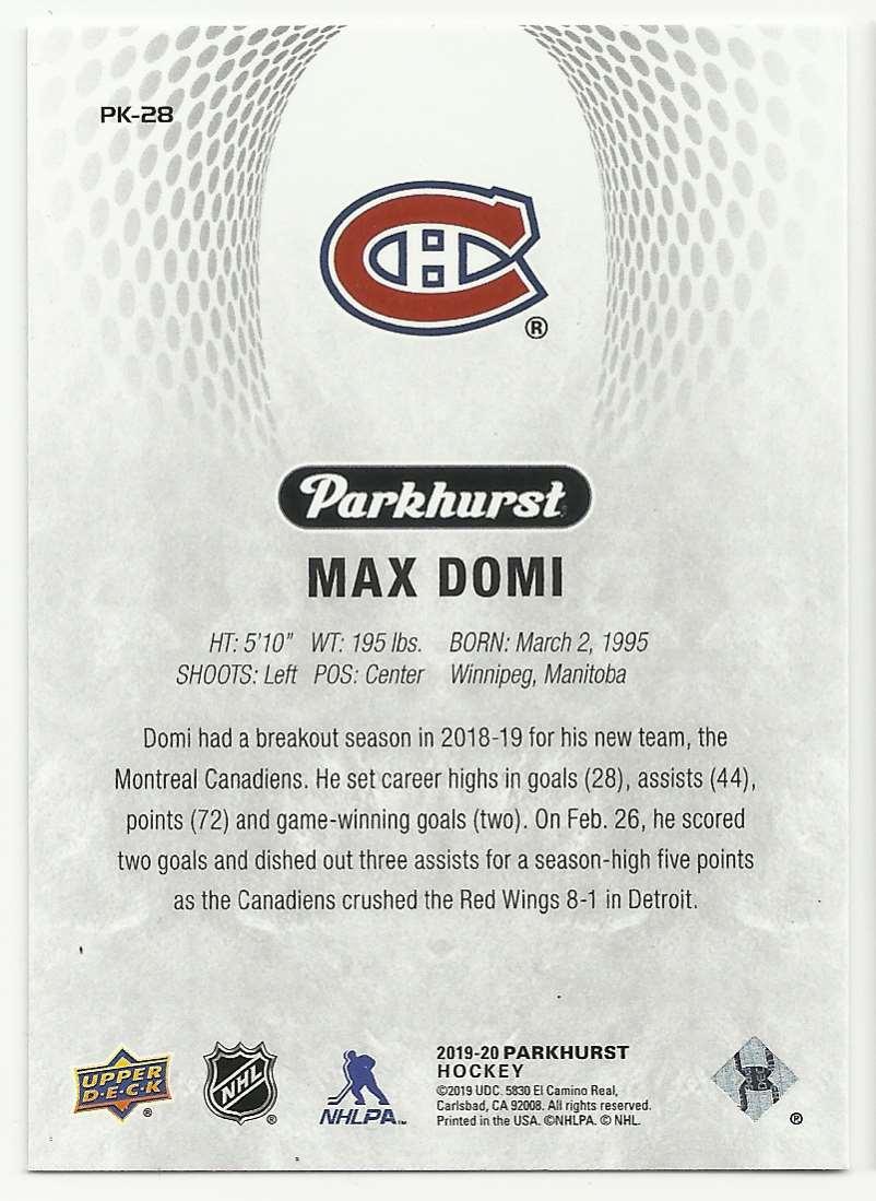 2019-20 Parkhurst Parkies Max Domi #28 card back image