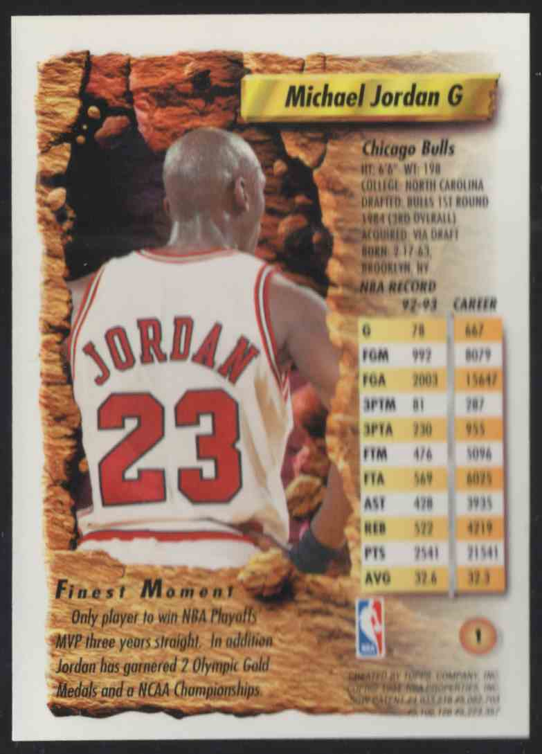 1993-94 Finest Michael Jordan #1 card back image