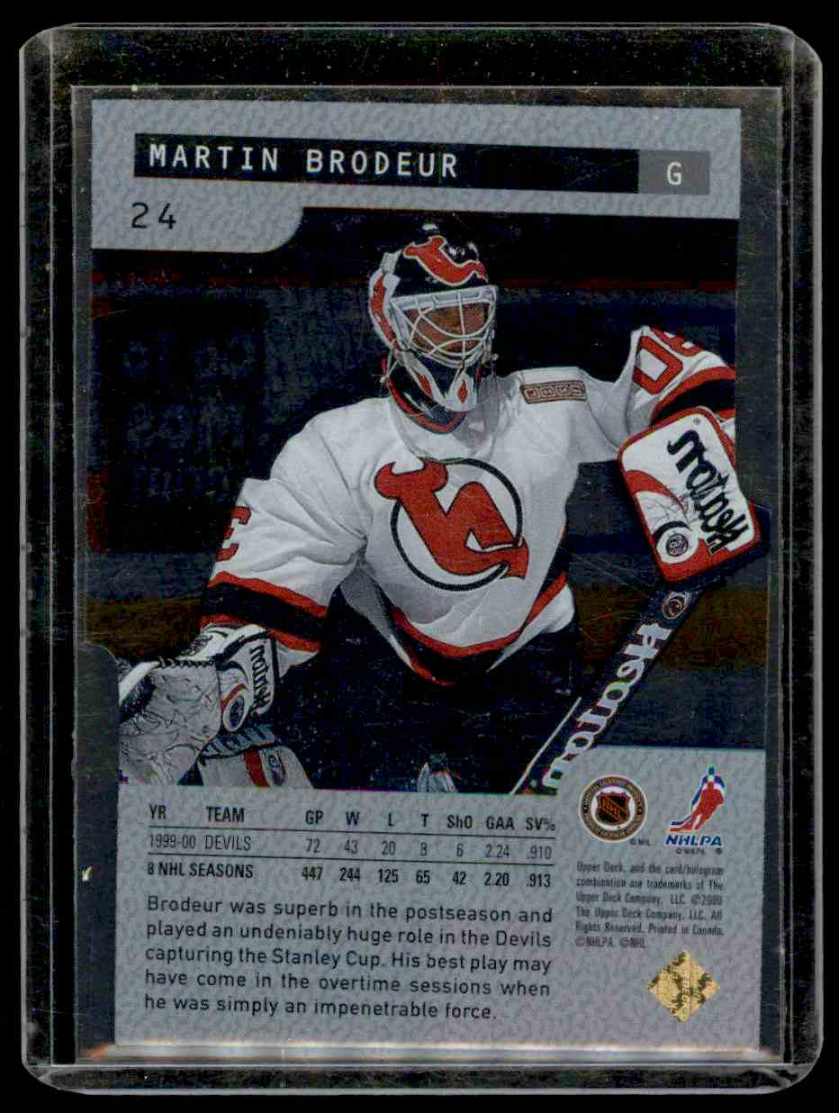 2000-01 Upper Deck Ice Legends Martin Brodeur #24 card back image