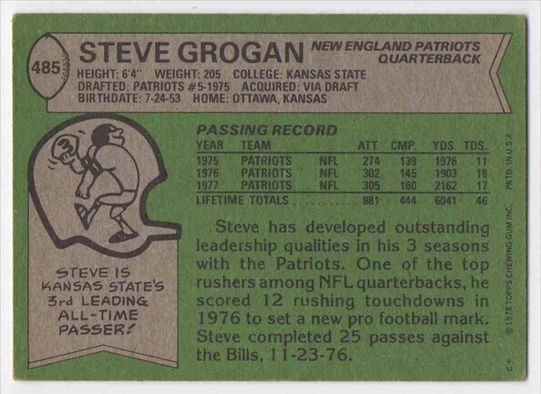 1978 Topps Steve Grogan #485 card back image