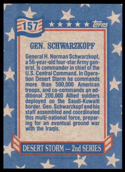1991 Desert Storm Topps Gen. Schwarzkopf #157 card back image