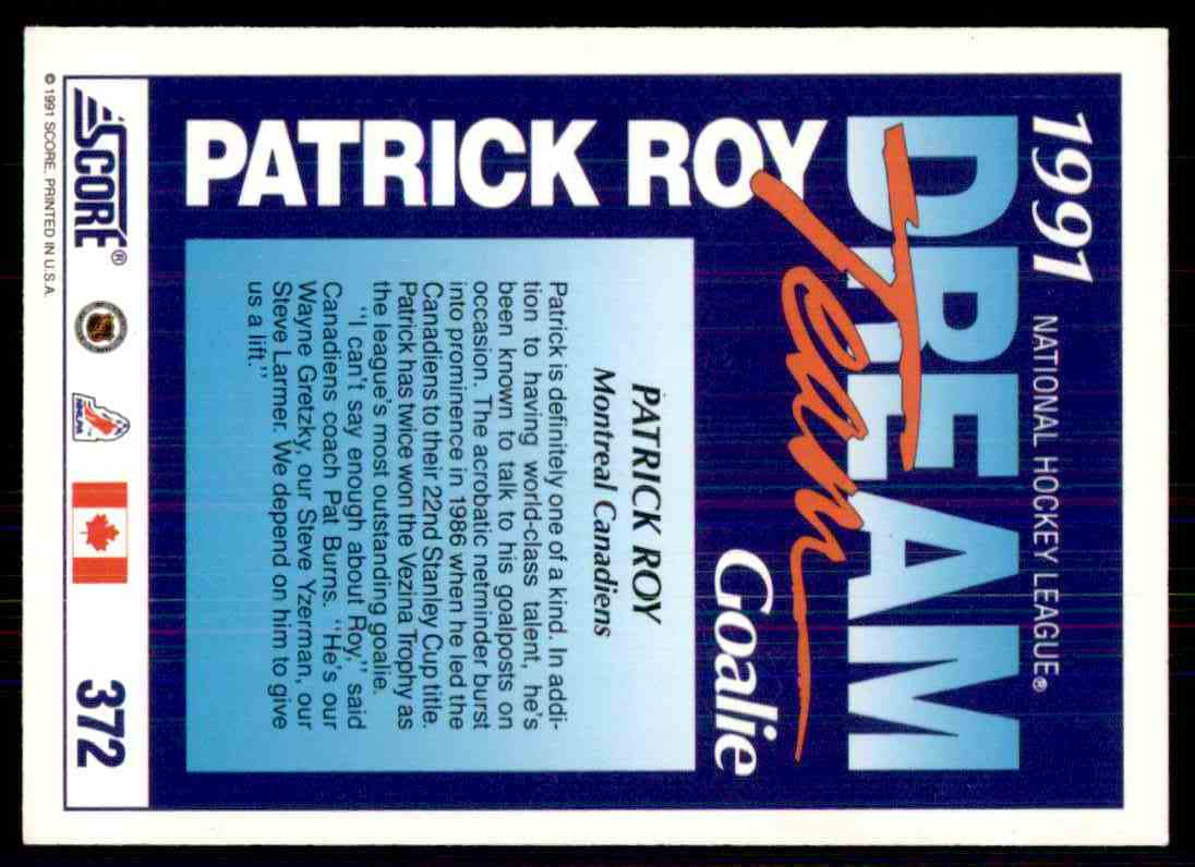 1991-92 Score Patrick Roy #372 card back image