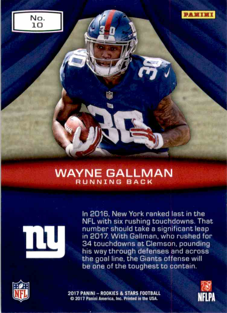 2017 Rookies And Stars Rookie Rush Wayne Gallman #10 card back image