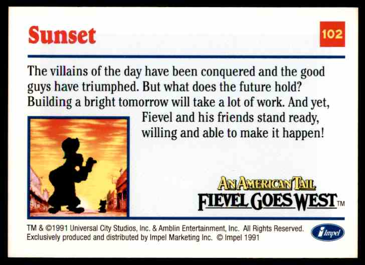 1991 An American Tail Sunset #102 card back image