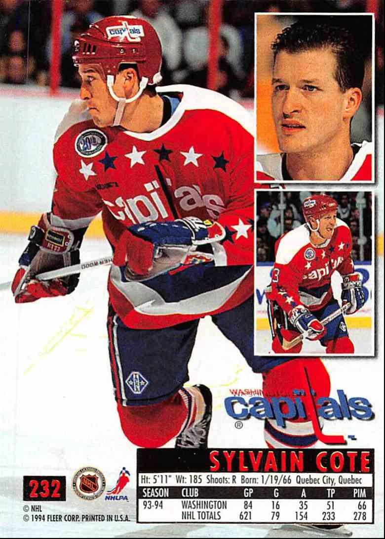 1994-95 Ultra Sylvain Cote #232 card back image