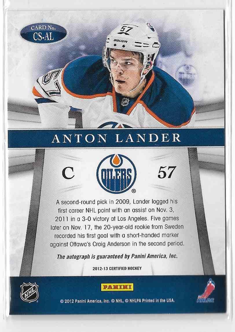 2012-13 Panini Certified Anton Lander #CS-AL card back image