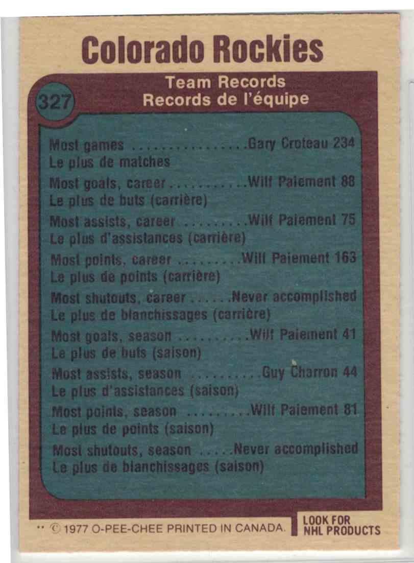 1977-78 O-Pee-Chee Colorado Rockies #327 card back image