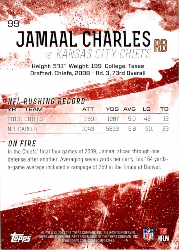 2014 Topps Fire Jamaal Charles #99 card back image
