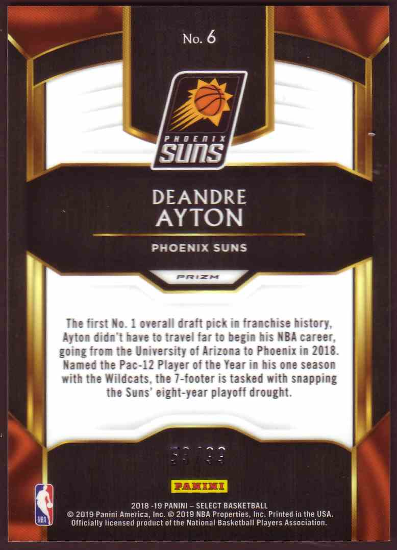 2018-19 Panini Select Top Selections Prizm Silver DeAndre Ayton #6 card back image