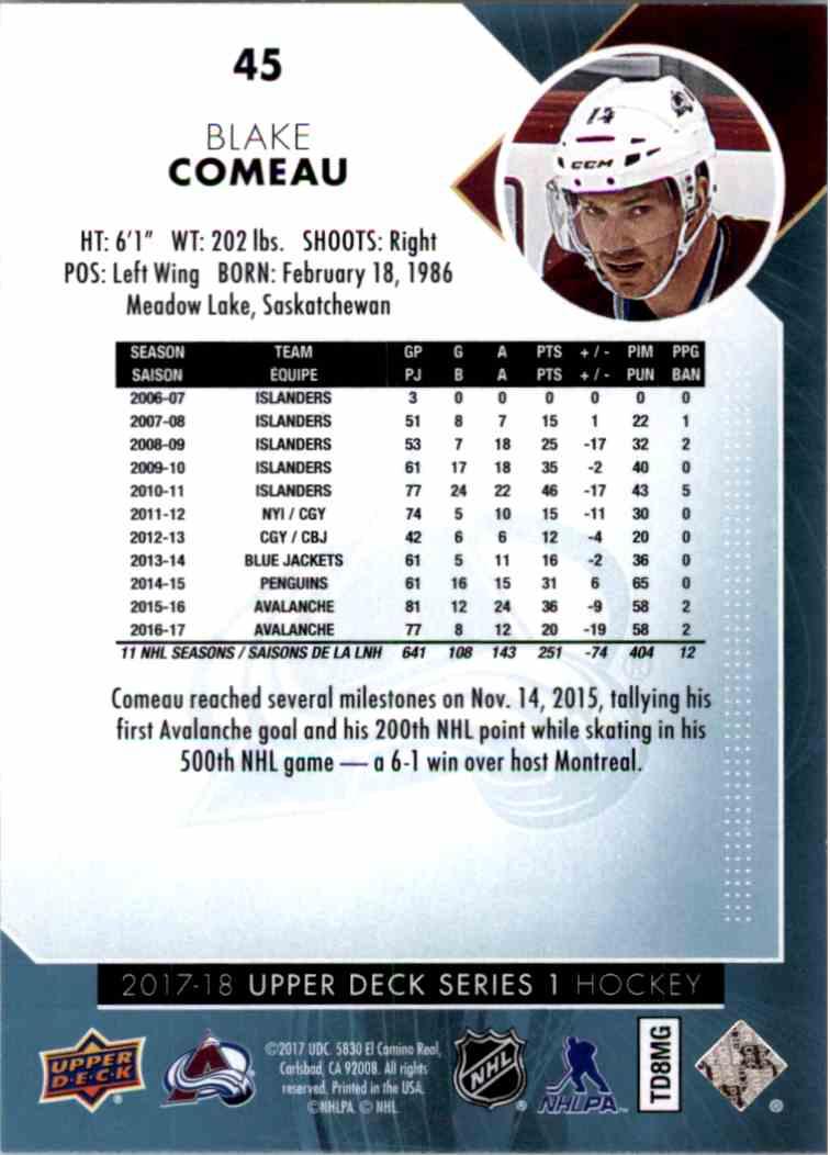 2017-18 Upper Deck Series 1 Blake Comeau #45 card back image