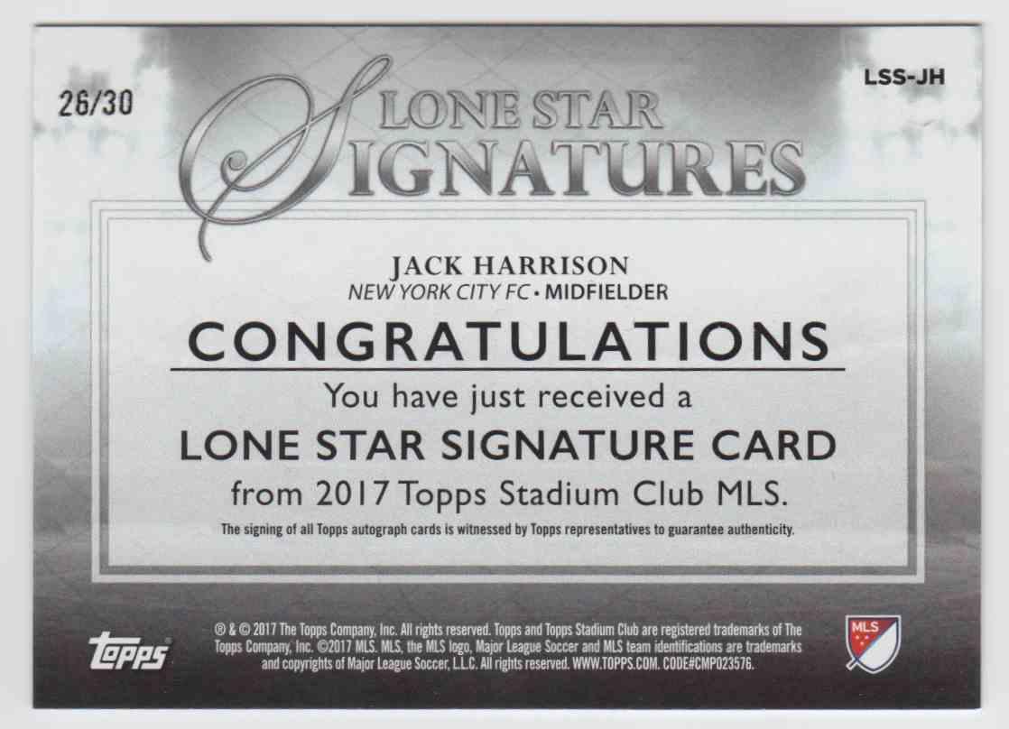 2017 Topps Stadium Club Lone Star Signatures Jack Harrison #LSS-JH card back image