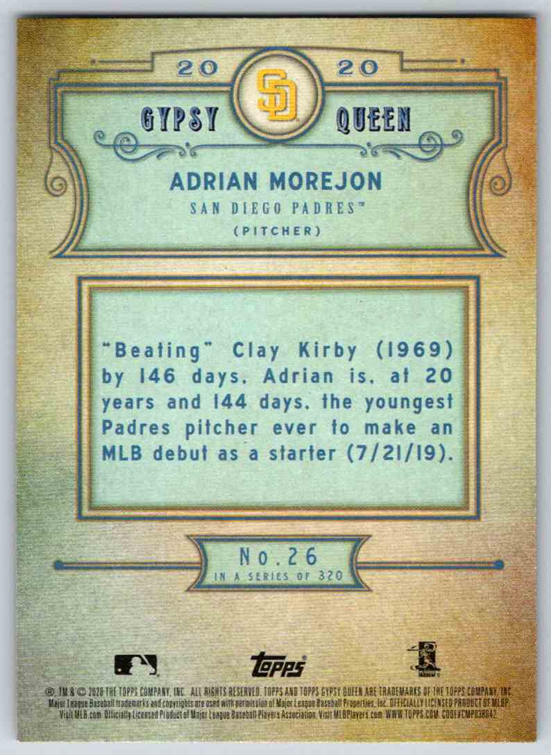 2020 Topps Gypsy Queen Base Adrian Morejon #26 card back image