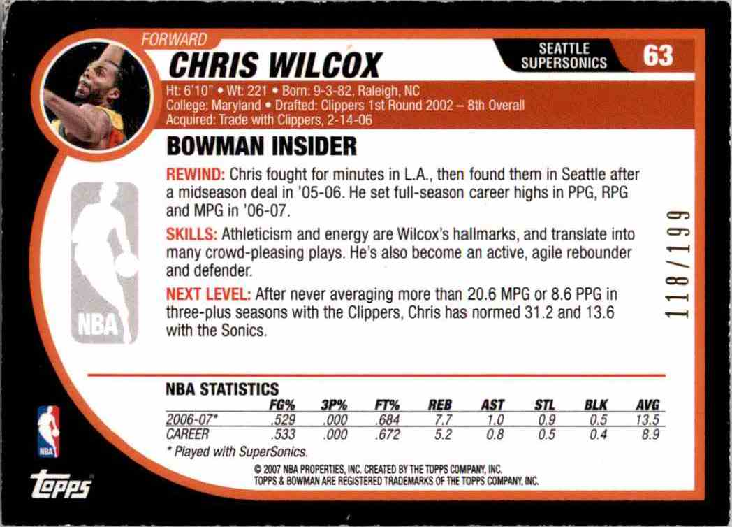 2007-08 Bowman Silver Chris Wilcox #63 card back image
