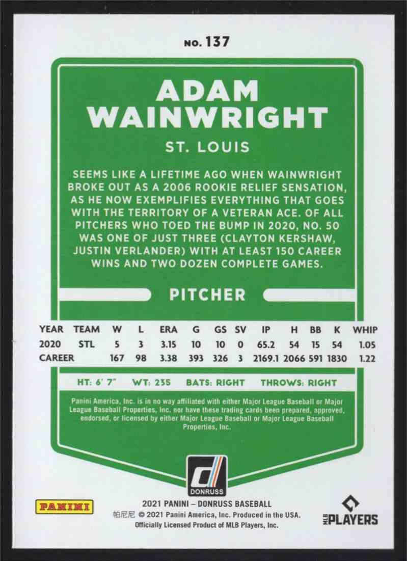 2021 Donruss Adam Wainwright #137 card back image