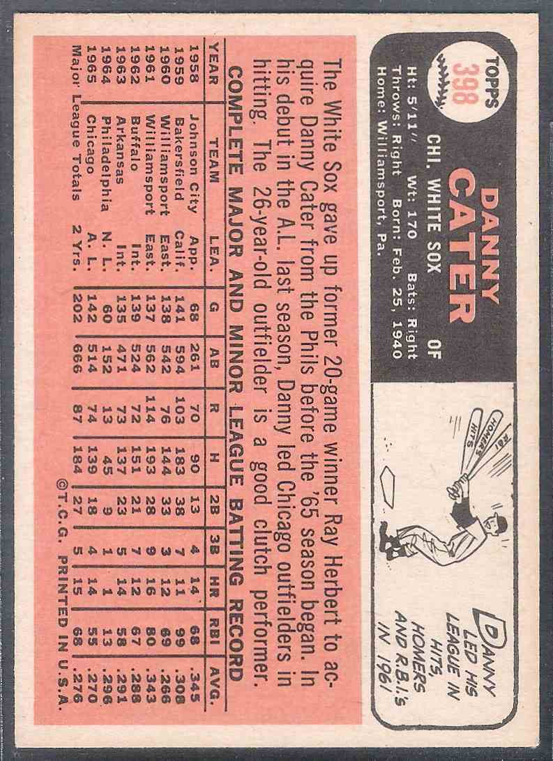 1966 Topps Danny Cater #398 card back image