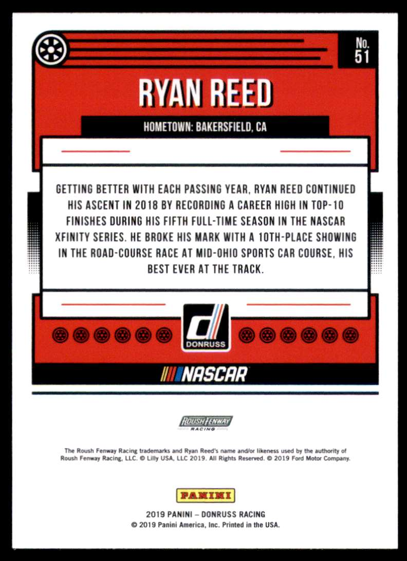 2019 Donruss Ryan Reed #51 card back image