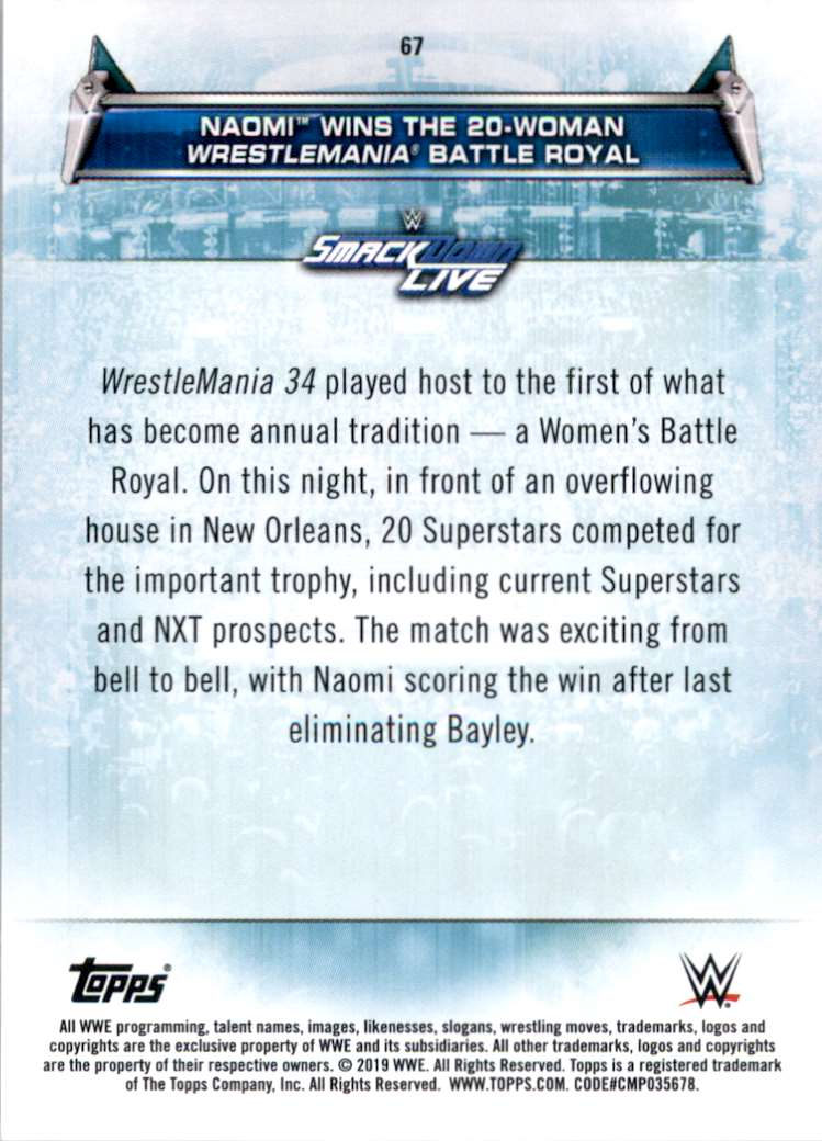 2019 Topps Wwe Women's Division Naomi Wins The 20-Woman WrestleMania Battle Royal #67 card back image