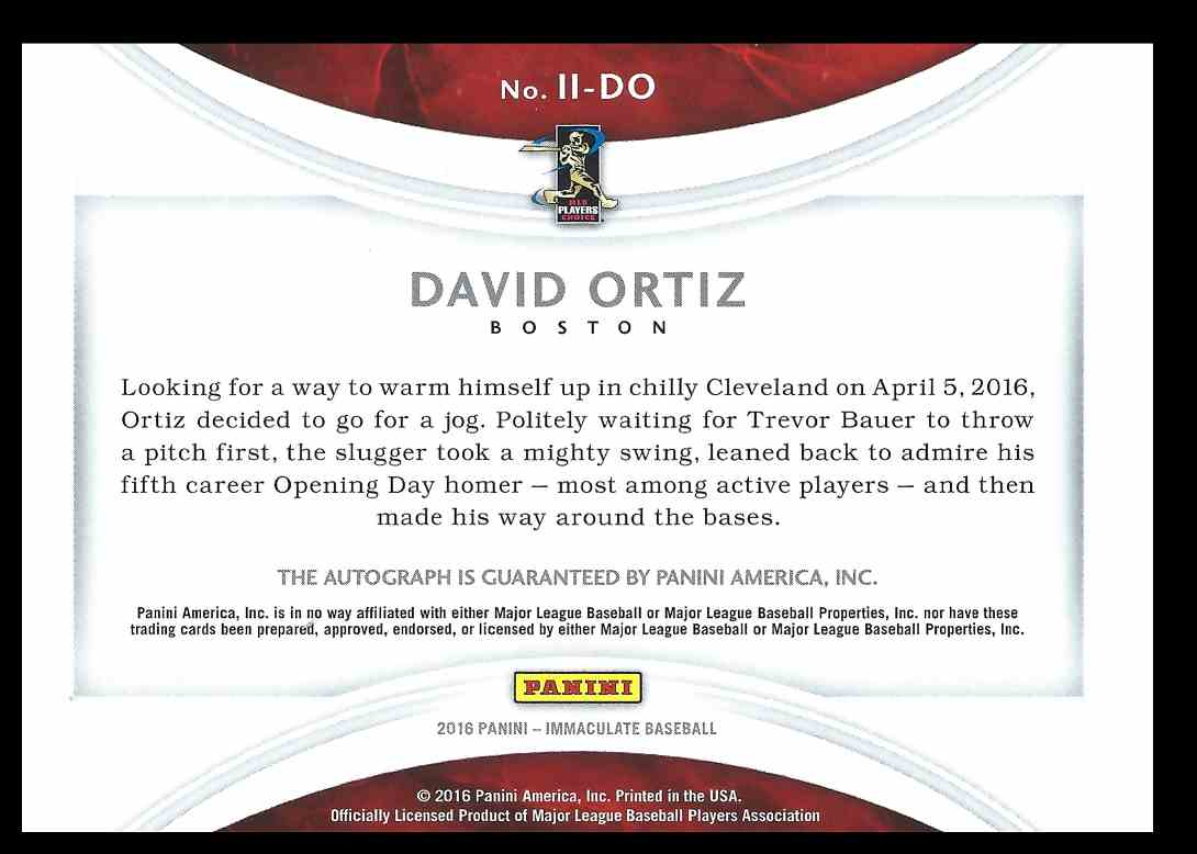 2016 Panini Immaculate Collection Ink David Ortiz #11-DO card back image