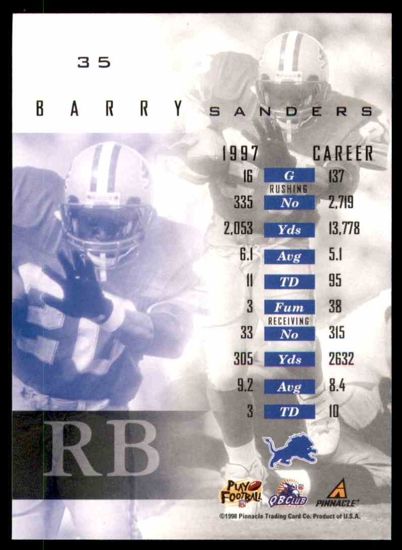 1998 Pinnacle Mint Barry Sanders #35 card back image