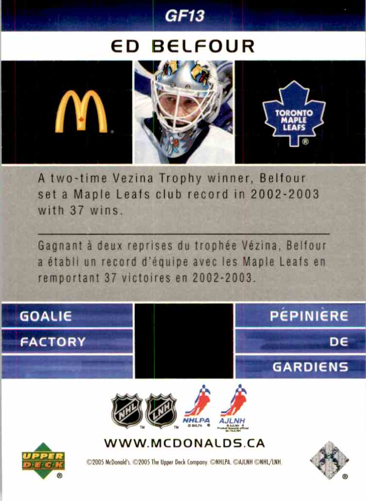 2005-06 Mcdonald's Upper Deck Goalie Factory Ed Belfour #GF13 card back image