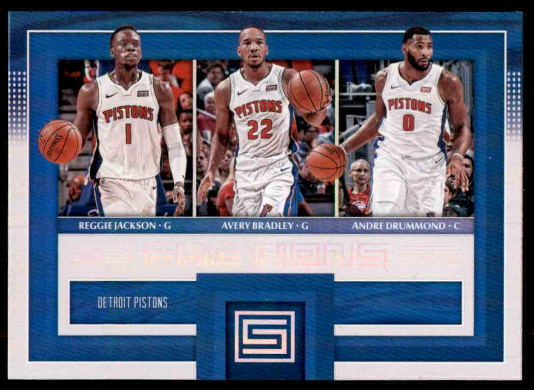 2017-18 Panini Status Factions Andre Drummond/Avery Bradley/Reggie Jackson #18 card front image