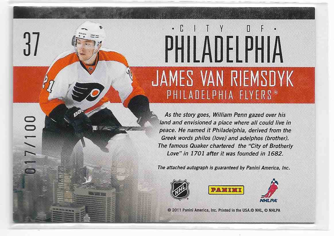 2010-11 Pinnacle James Van Riemsdyk #37 card back image