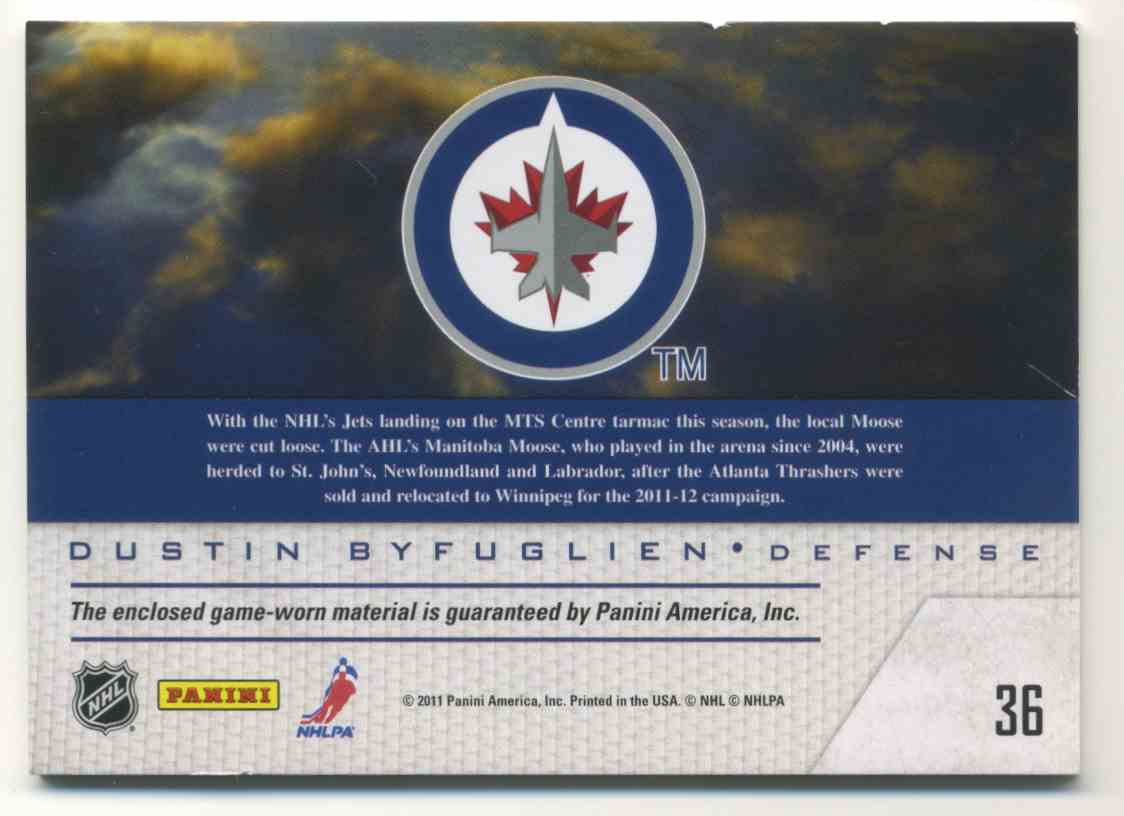 2011-12 Pinnacle Game Night Materials Dustin Byfuglien #36 card back image