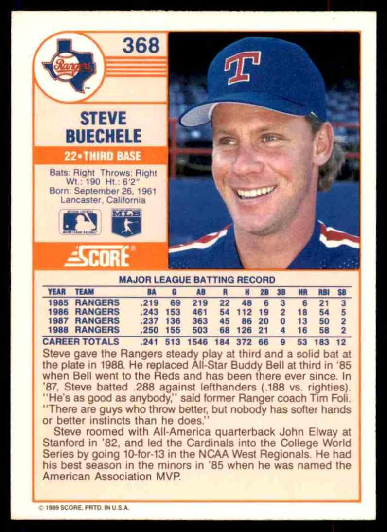 1989 Score Regular Steve Buechele #368 card back image