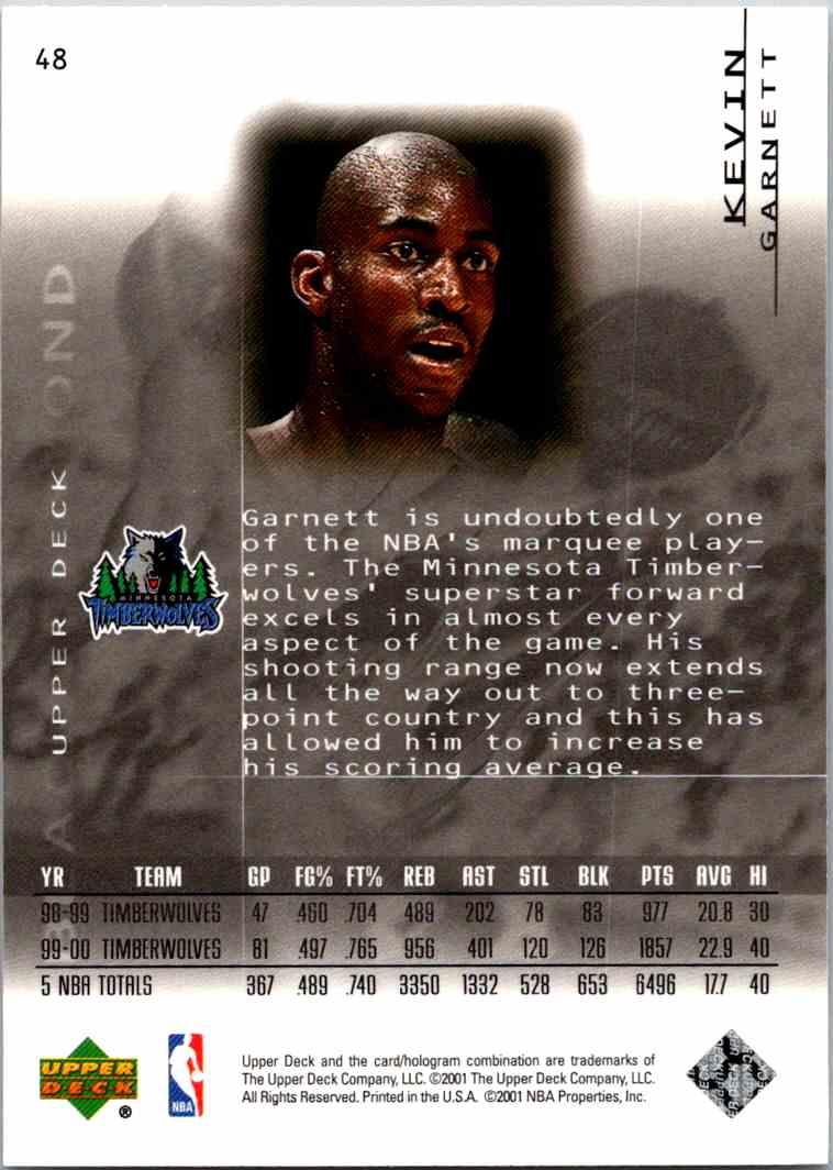 2000-01 Upper Deck Black Diamond Kevin Garnett #48 card back image