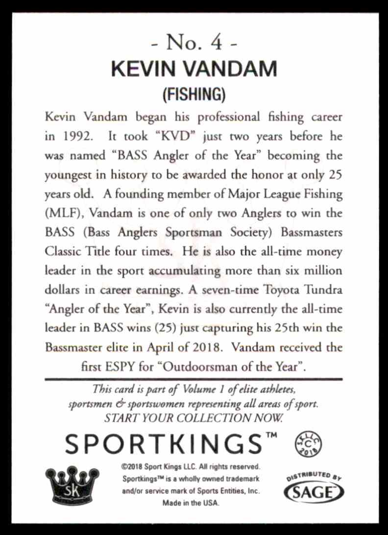 2018 Sportkings Black Back Retail Kevin Vandam #4 card back image