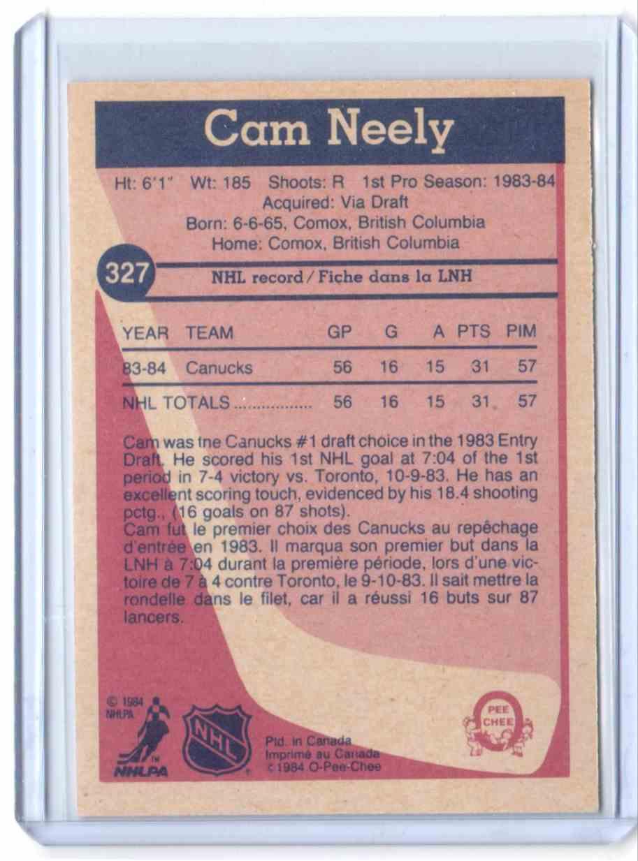 1984-85 O-Pee-Chee Cam Neely #327 card back image