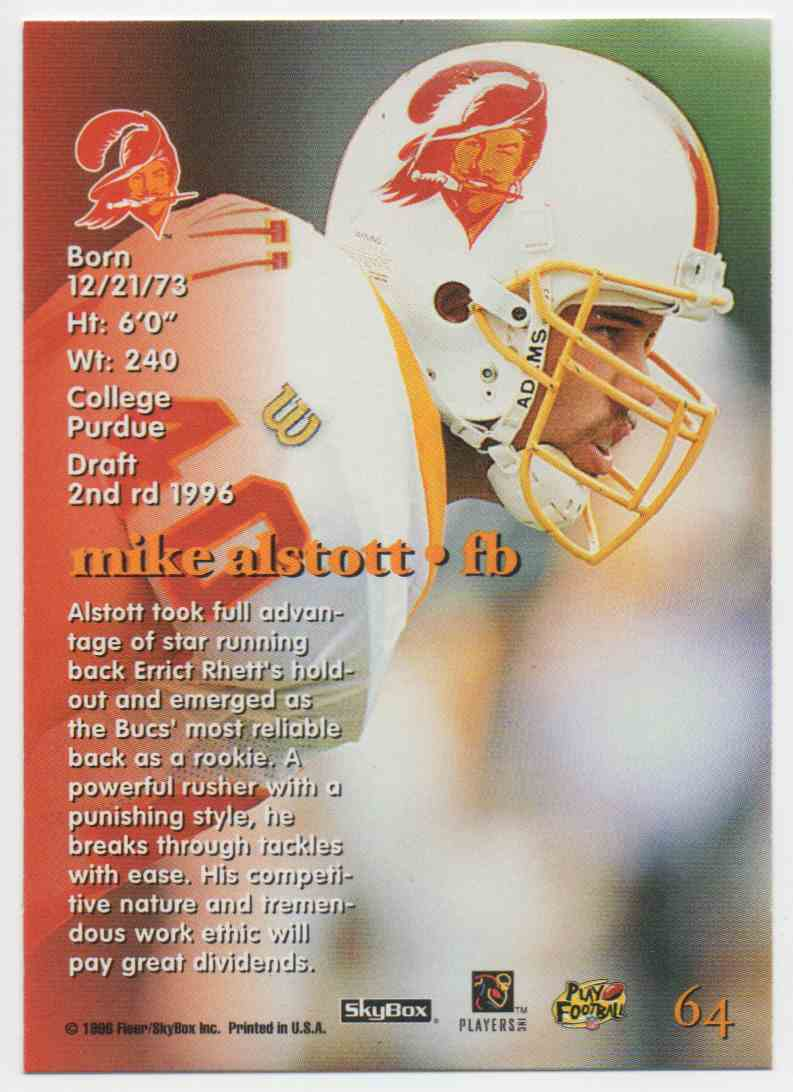 1996 Skybox Impact Mike Alstott #64 card back image