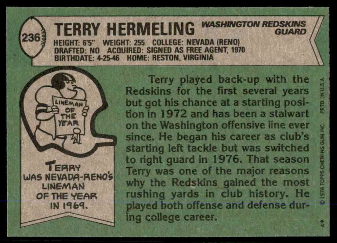 1978 Topps Football Terry Herrmeling #236 card back image