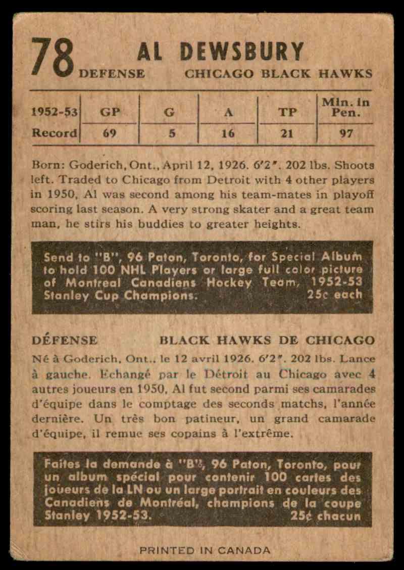 1953-54 Parkhurst Al Dewsbury #78 card back image