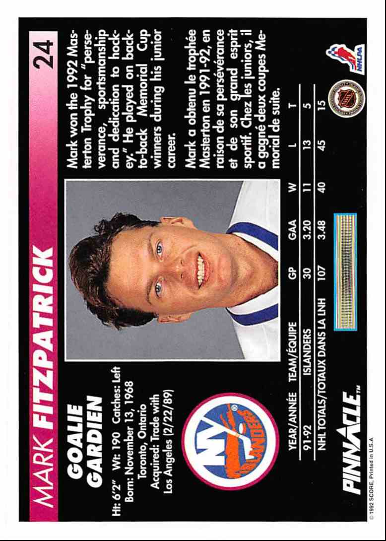 1992-93 Pinnacle French Mark Fitzpatrick #24 card back image