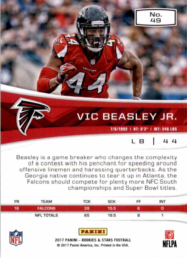 2017 Rookies And Stars VIC Beasley JR. #49 card back image