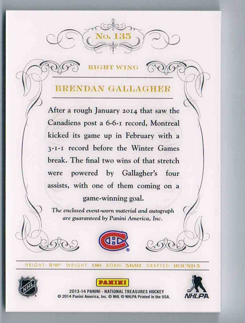 2013-14 Panini National Treasures Jersey Autograph Brendan Gallagher #135 card back image