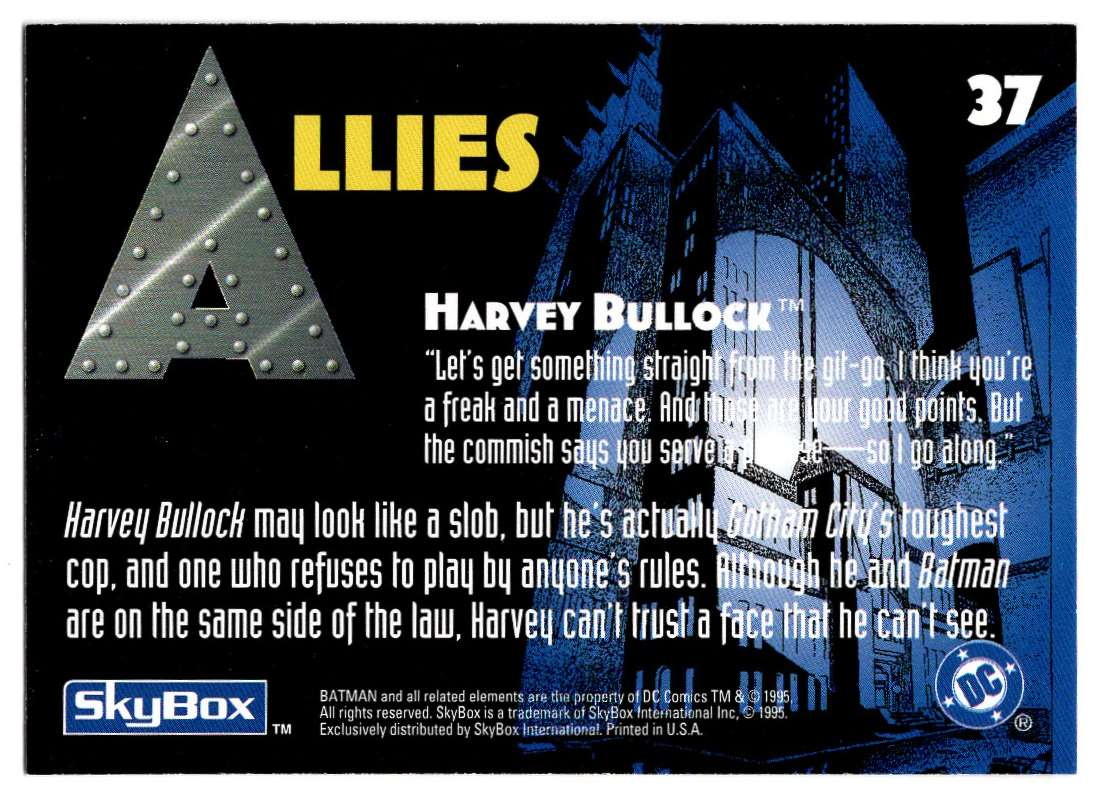 1995 Skybox Adventures Of Batman And Robin Harvey Bullock #37 card back image
