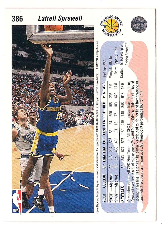 1992-93 Upper Deck Latrell Sprewell #386 card back image