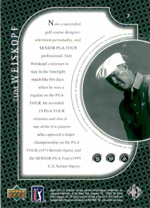 2001 SP Authentic Preview Tom Weiskopf #7 card back image