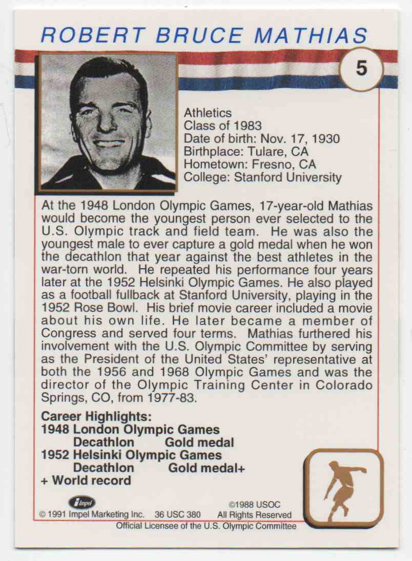 1991 Impel U.S. Olympic Hall Of Fame Bob Mathias #5 card back image