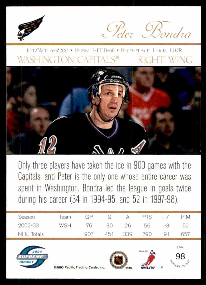 2004-05 Supreme Hockey Peter Bondra #98 card back image