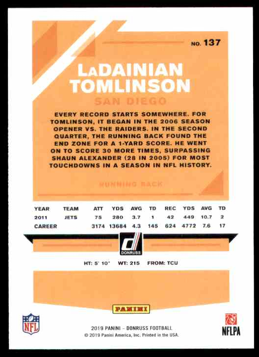 2019 Donruss LaDainian Tomlinson #137 card back image