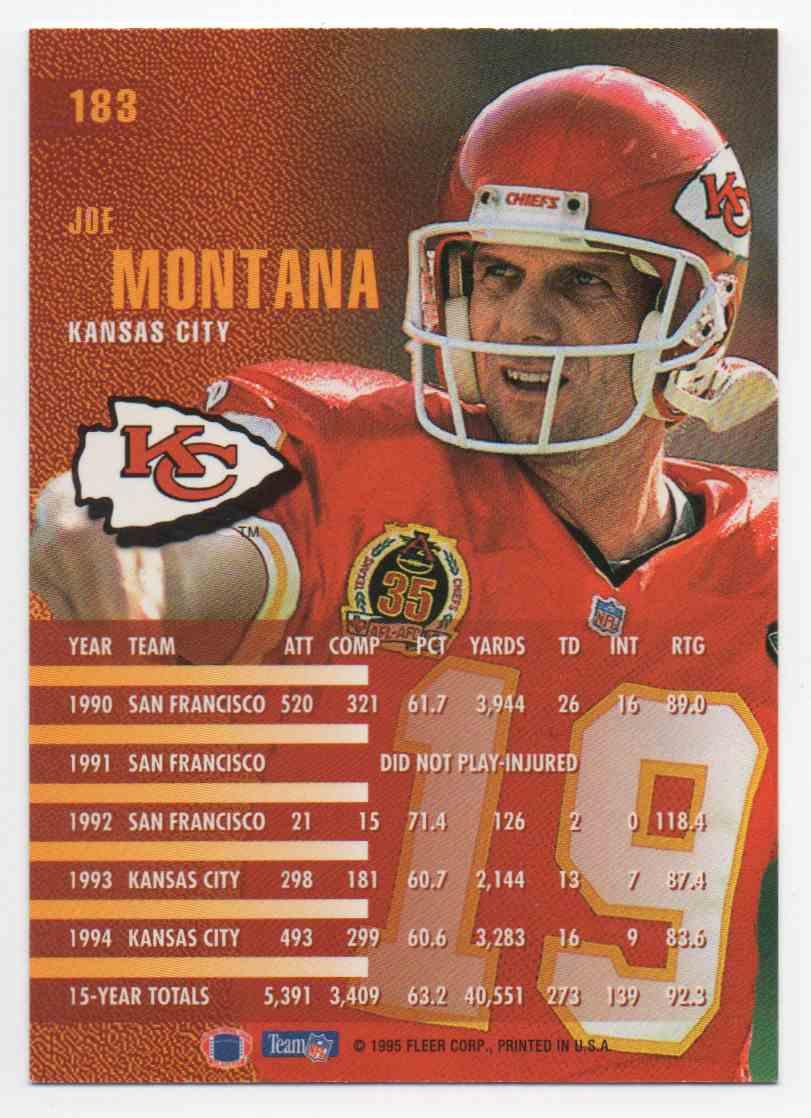 1995 Fleer Joe Montana #183 card back image