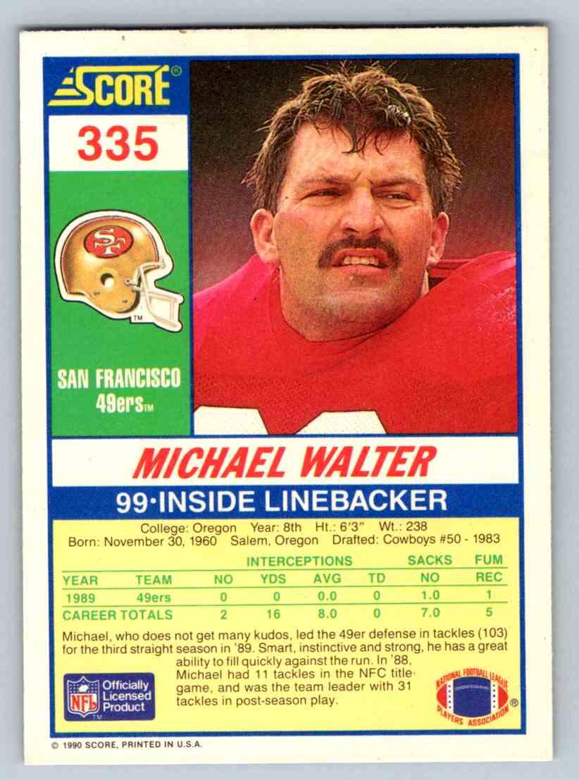 1990 Score Michael Walter #335 card back image