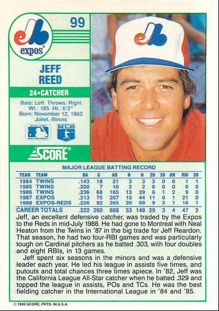 1989 Score Jeff Reed #99 card back image